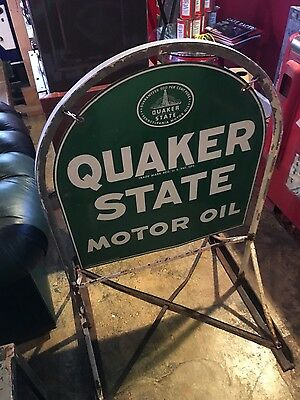 Original Quaker State Motor Oil Tombstone Sign & Curb Stand