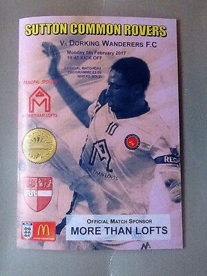 2016/17 SUTTON COMMON ROVERS v DORKING WANDERERS - SURREY SENIOR CUP - VERY RARE