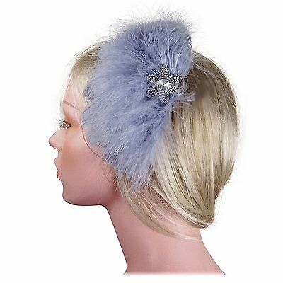 Feather Fascinator Flower Crystals Cocktail Headwear Hair Clip in Grey Gray