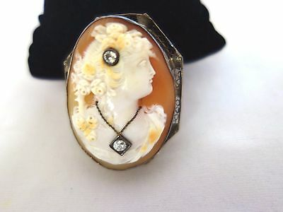 14Kt Gold Pin Brooch Cameo 2Diamond Filigree Fine Carved Shell Victorian Antique