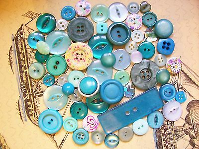 65 vintage/modern buttons in shades of turquoise/aqua for cardmaking,weddings