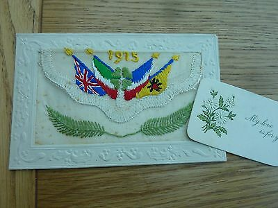 Ww1 Silk Postcard Flags Of Allies With Card Unused