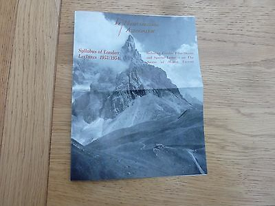 1953 54 The Mountaineering Assoc Syllabus London Lectures Flyer Original