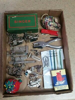 Vintage Sewing Lot, Pin Cushions, Needles, Sewing Machine Parts, Etc.