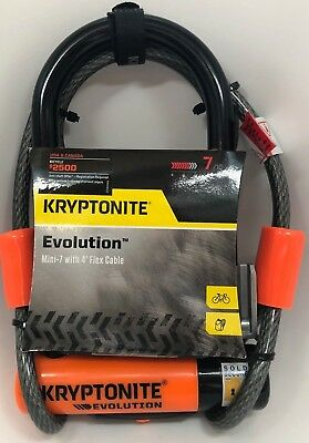 KRYPTONITE EVOLUTION MINI-7 Bike Pocket U lock w/ 4 FOOT KRYPTOFLEX CABLE NEW