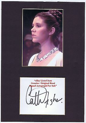 CARRIE FISHER    STAR WARS  LEIA ORGANA Hand Signed Mount Display Rare Item