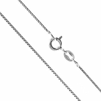RHODIUM PLATED PURE 925 SILVER BOX DIAMOND CUT CHAIN  ITALIAN  NECKLACE 1.3mm