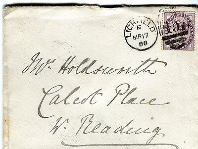 Cover with LICHFIELD duplex to Calcot Place 1888; backstamp TILEHURST