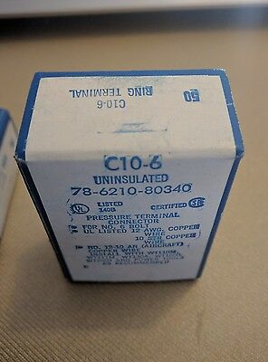 Thomas & Betts T&B C10-6  Sta-Kon Non-Insulated Ring Terminal 10-12 wire #6 stud