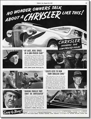 1937 Chrysler invades low prices with testimonials, vintage car-ad