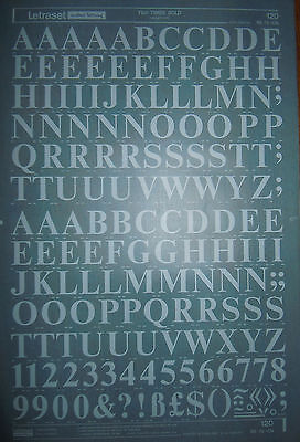 WHITE LETRASET Rub On Transfers TIMES BOLD 72pt CAPITALS (#120) NEW *RARE*