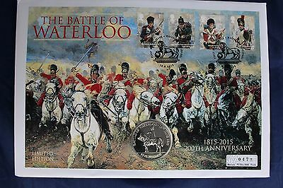 """2015 Jersey £5 Crown coin cover """"Battle of Waterloo""""  (Y2/13)"""