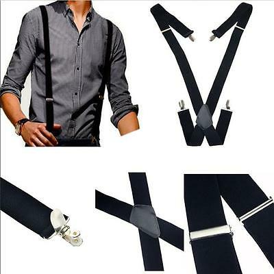 35mm Unisex Mens Men Braces Plain Black Wide & Heavy Duty Suspenders Adjustable