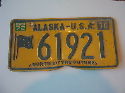 1970 Alaska License Plate   with flag and North to the Future and 1972 sticker