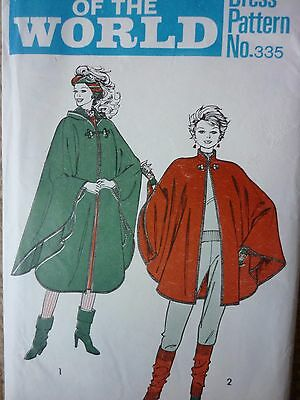 Uncut Vintage 1960's Cape With Or Without A Hood Sewing Dressmaking Pattern