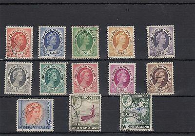 Rhodesia & Nyasaland13 -- Early Used Qe2 Stamps On Stockcard