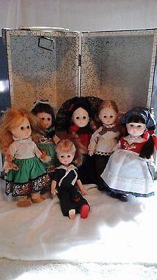 Lot of Vintage Ginny Dolls and Vintage Doll Box