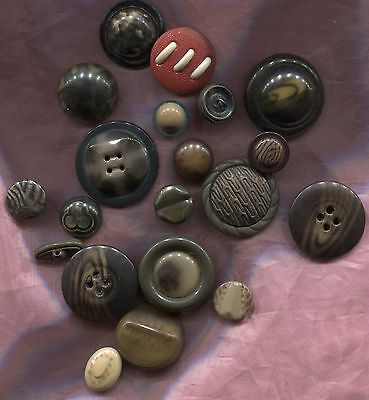 VINTAGE CELLULOID BUTTONS HOLLOW TOPS 1920`s