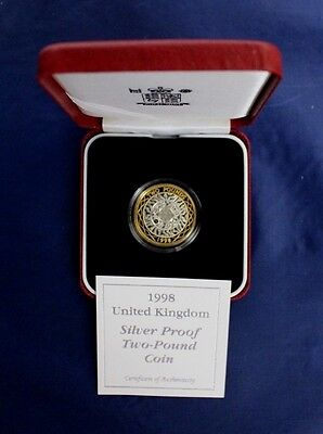 1998 Silver Proof £2 coin in Case with COA   (AR1/24)