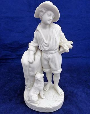 Antique Victorian Parian Bisque Porcelain Figurine Man with Dog and Flowers 1870