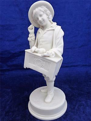 Antique Victorian Parian Bisque Porcelain Figure Boy Barrel Organ &  Rats c 1860