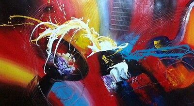 Abstract acrylic painting on canvas,100% hand painted, Large and Colourful.