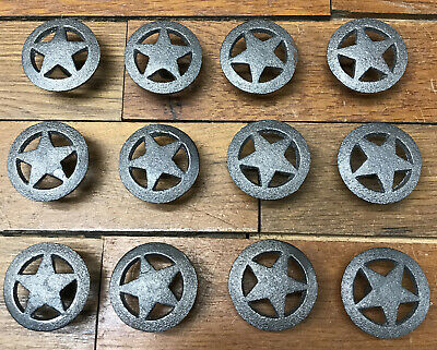 12 Rd Star KNOBS Pulls Drawer Door Cabinet Barn Rustic Cast Iron Western Style