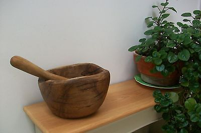 French fruit wood pestle and morter . Possibly  Olive wood. vintage style
