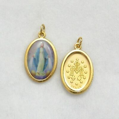 Miraculous Coloured Medal Pendant, 20 x 15mm Gold Tone Border, Made In Italy Qua