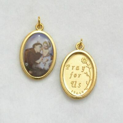 St Anthony Coloured Medal Pendant, 20 x 15mm Gold Tone Border, Made In Italy