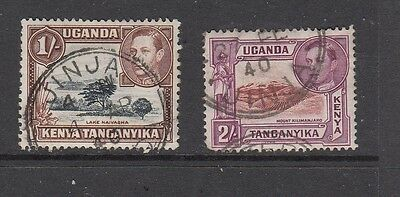 KUT GV1 2/- & 1/- STAMPS WITH JINJA CANCELS .Rfno.320.