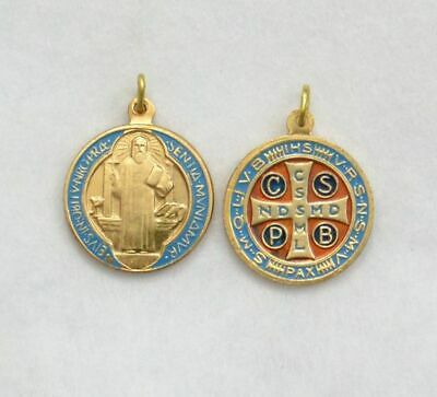 Saint Benedict Enamelled Medal Pendant, 20mm Gold Tone, Made In Italy Quality