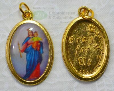 Our Lady Help of Christians Medal Pendant, 23x15mm Gold Tone Border, Made In Ita