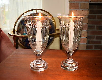 "Stunning Cut Glass Engraved Large Candlestick Holders 10"" Tall Vgc"