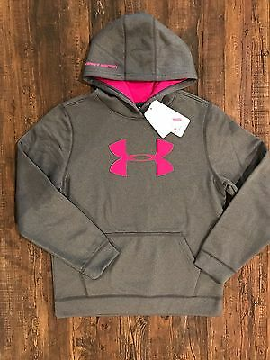 Under Armour Boys' Power in Pink PIP Big Logo Hoodie 1263578 Large XL
