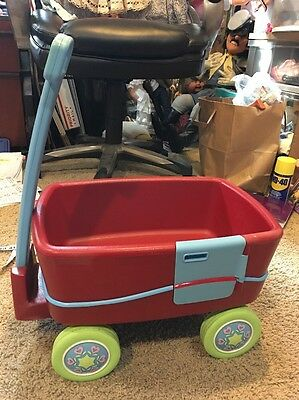 American Girl Bitty Baby Twins Red Wagon For 2 w/ Door RETIRED