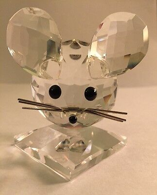 Swarovski Crystal Mouse Figurine With Metal Whiskers No Box Missing Tail