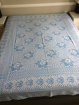 1960's Bed cover throw blue & white floral vintage single bed size
