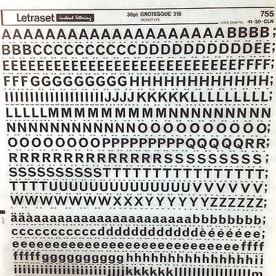 NEW SHEET LETRASET RUB ON INSTANT TRANSFER LETTERS 30pt Grotesque 216