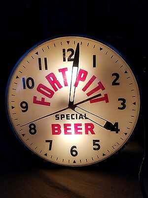 1940's Authentic Fort Pitt Beer Lighted Advertising Clock Sign