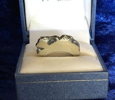 925 Sterling Silver Handmade/Primitive Flat Ring - Solid - 9.75g