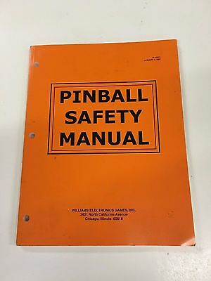 Bally Williams Pinball Machine Safety Manual Addams Medieval Twilight Shadow etc