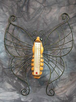 Vintage Butterfly Wall Mount Thermometer Duo Fahrenheit & Celsius Temps