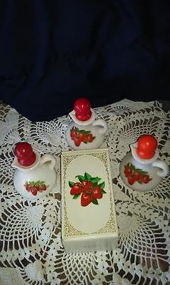 vintage AVON lot of 3 one Box Strawberries lotion,  perfume, collectible (#45)