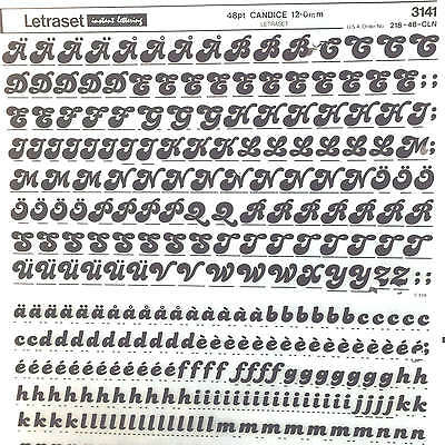 NEW & UNUSED SHEET LETRASET TRANSFER LETTERS  48pt Candice