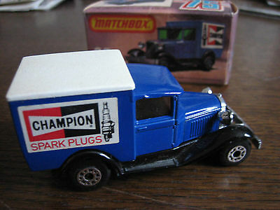 Boxed 1979 Matchbox Lesney Superfast #38 Model 'a' Ford Van Champion Spark Plugs