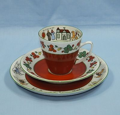 Porsgrund Norway Bone China Pictorial Wedding Story Tea Cup Saucer & Side Plate