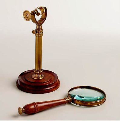 Vintage Magnifying, wooden Finish ,Glass on Stand Office Table Decor,Antique