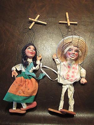 2 Vintage Marionettes Mexican string puppets