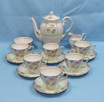 TUSCAN PINK BONE CHINA VINTAGE 15 Piece FLOWER DECORATED COFFEE SERVICE SET